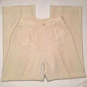 Silk pinstripe cream slacks by Lauren Ralph Lauren
